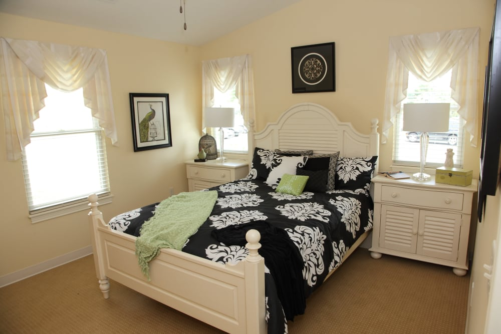 Spacious villa bedroom at The Villages at Historic Silvercrest in New Albany, Indiana