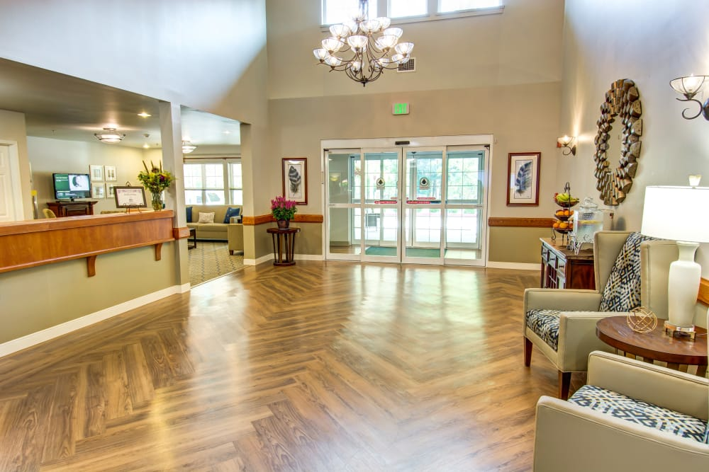 Reception desk at Bridgeport Place Assisted Living