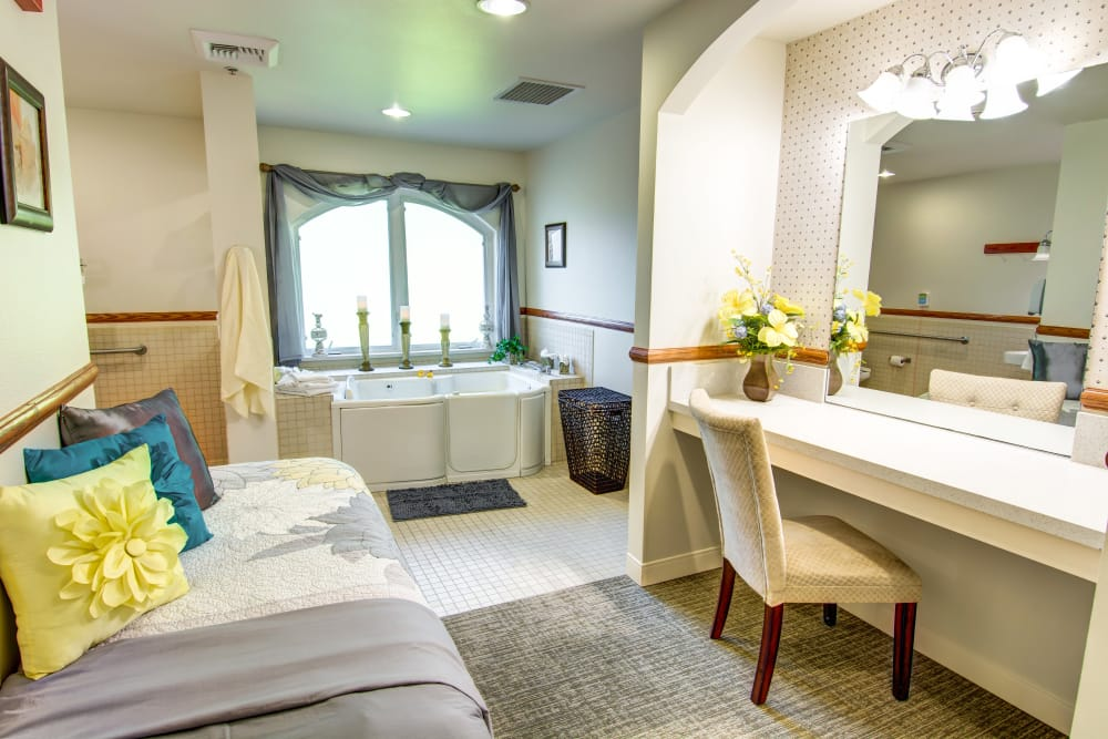 Luxurious bathroom at Bridgeport Place Assisted Living in University Place, Washington