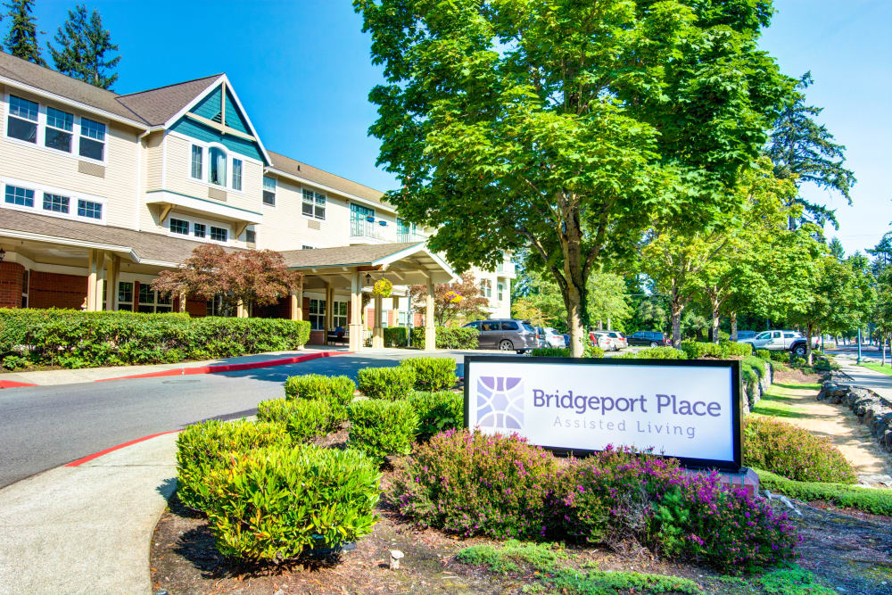 Welcome sign at Bridgeport Place Assisted Living in University Place, Washington