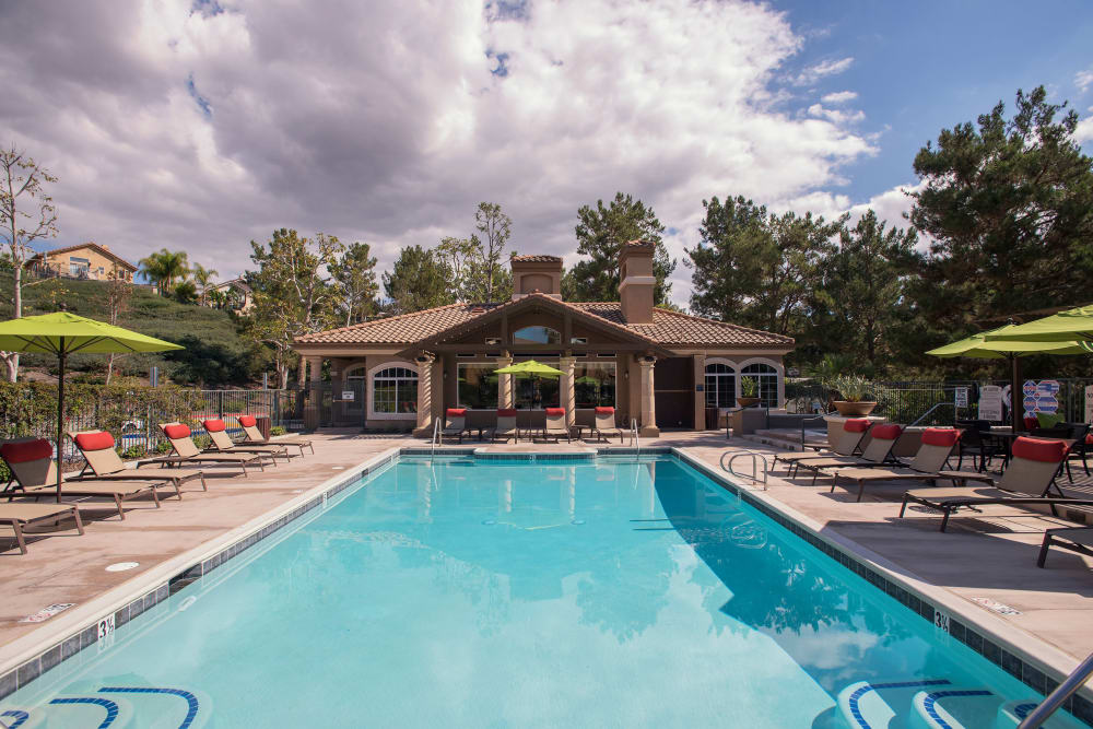 Outdoor pool and patio at Paloma Summit Condominiums