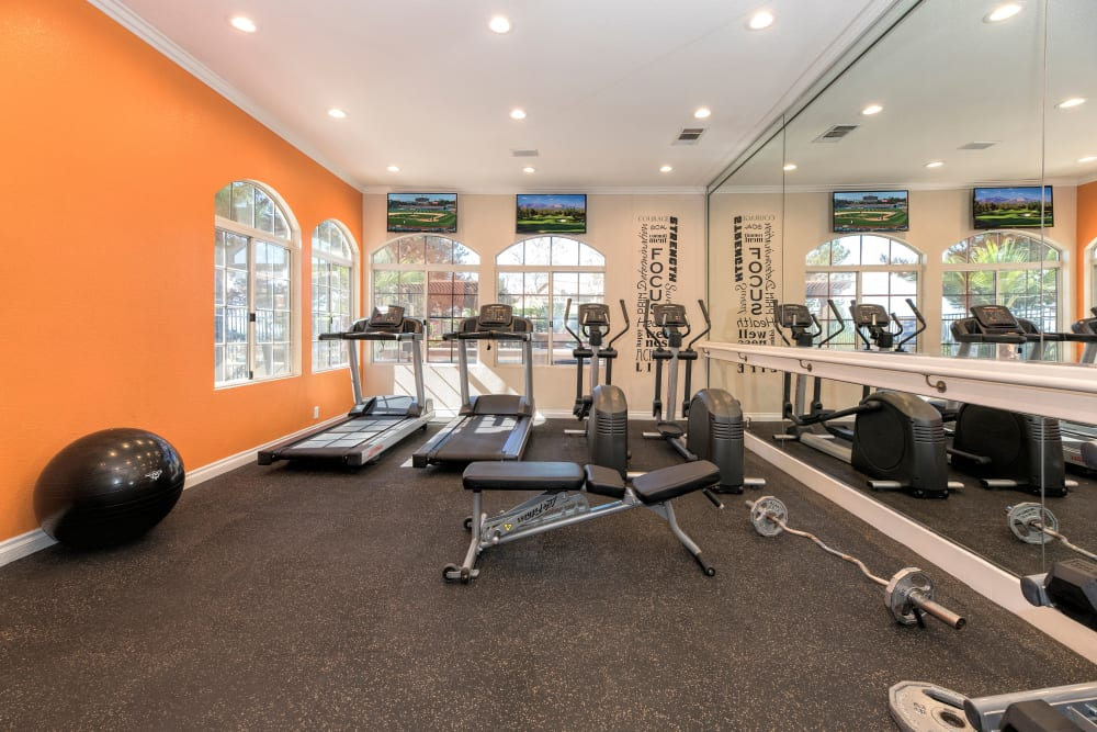 Fitness center with treadmills at Paloma Summit Condominium Rentals in Foothill Ranch, California