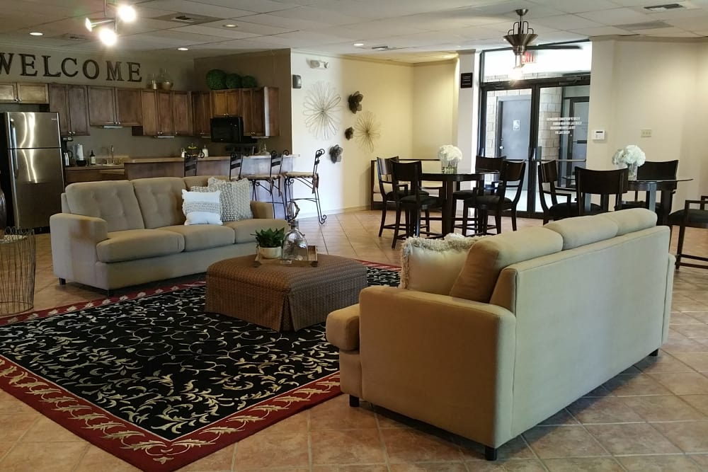 Comfortable seating in the clubhouse at Acacia Park Apartments's clubhouse in El Paso, Texas