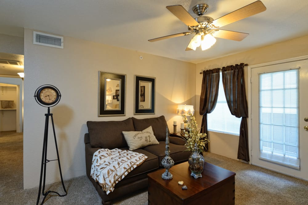 Beautiful living room at Acacia Park Apartments in El Paso, Texas