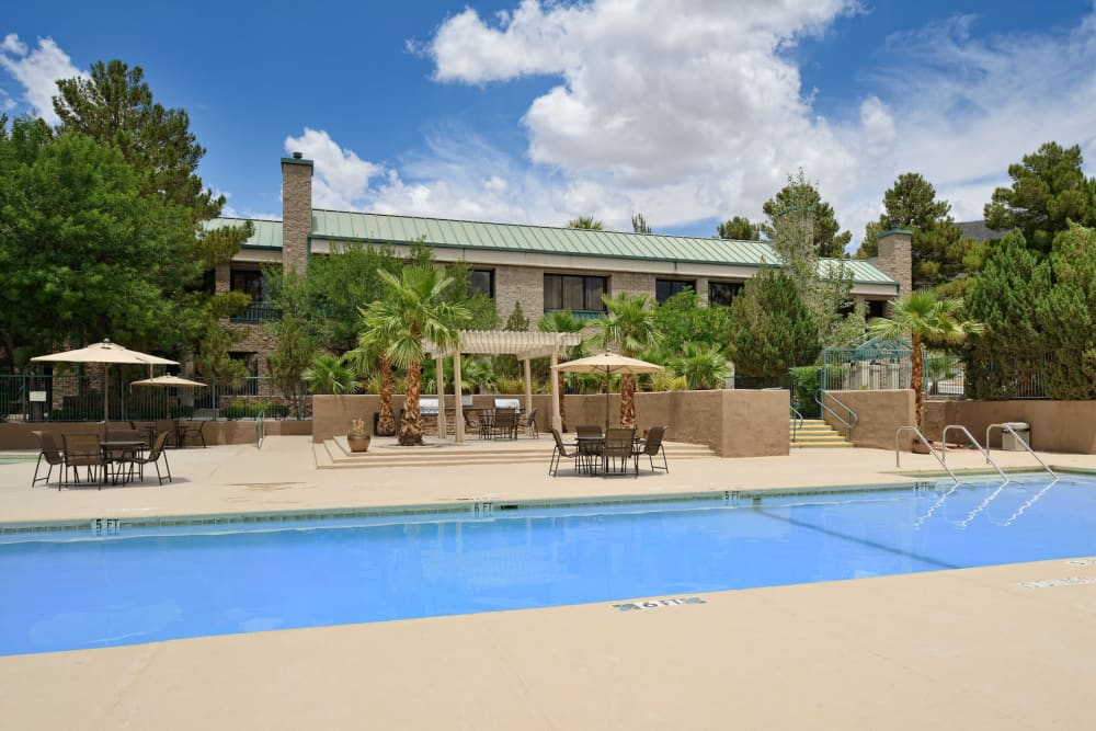 Resort style pool at Acacia Park Apartments in El Paso, Texas