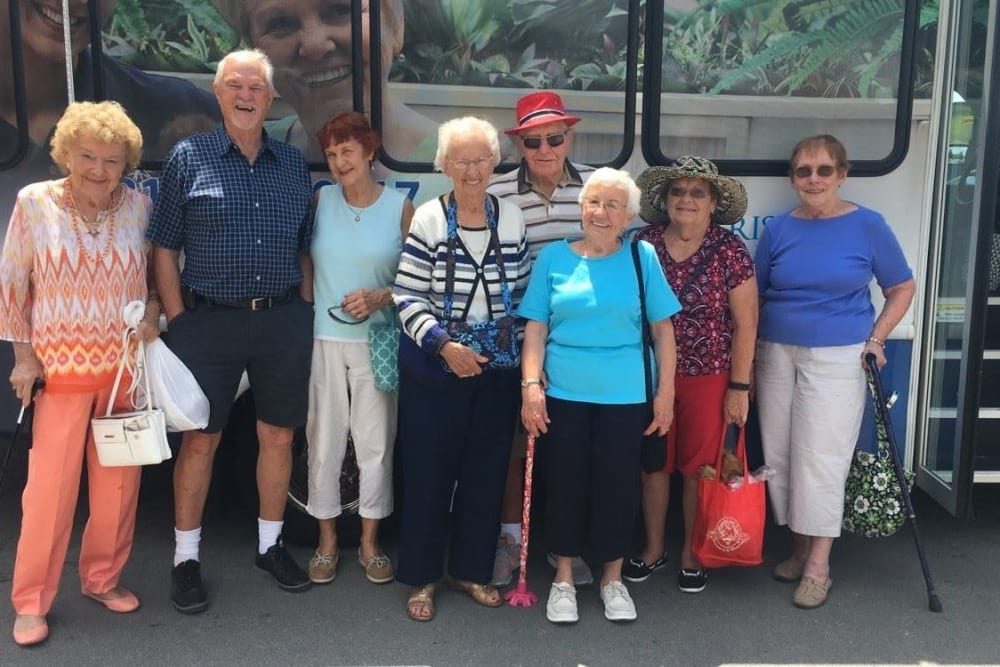 A group of residents outside the community bus at Harrison Springs Health Campus in Corydon, Indiana