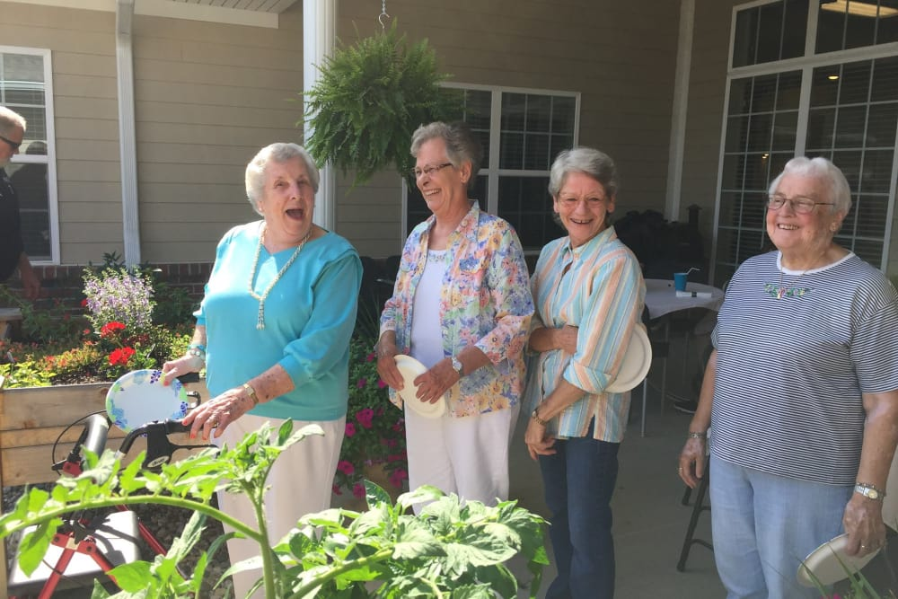 Happy residents enjoying the sunshine at Harrison Springs Health Campus in Corydon, Indiana
