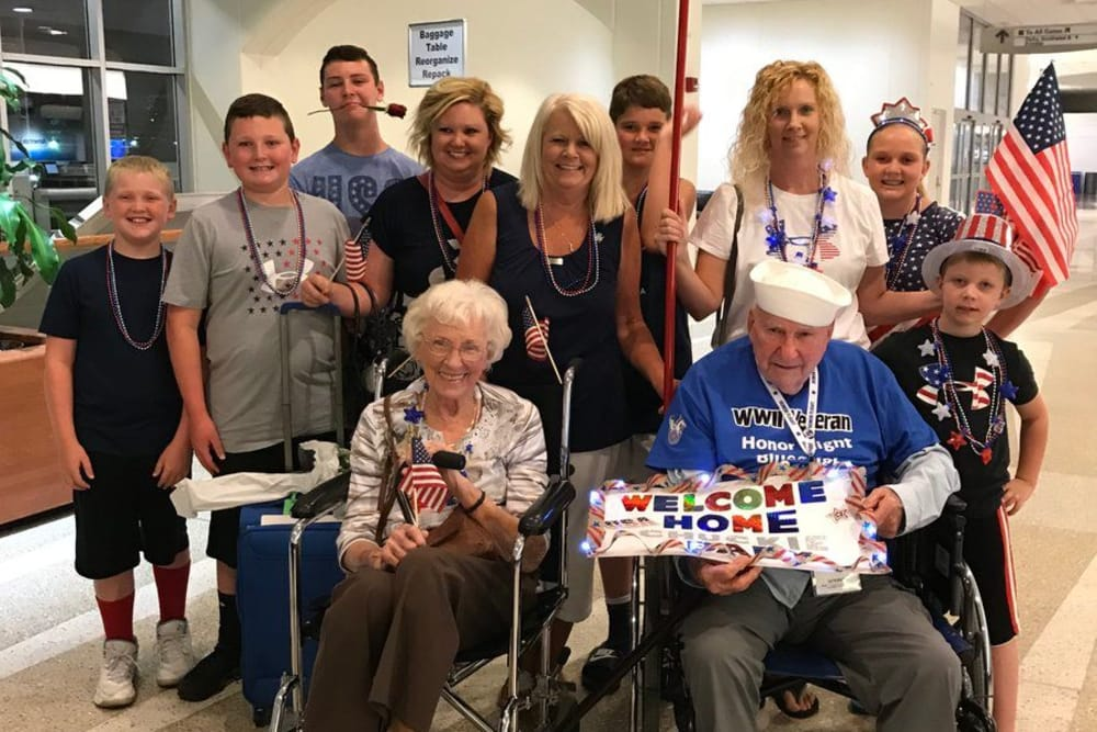 Family welcoming Chuckie home at River Terrace Health Campus in Madison, Indiana