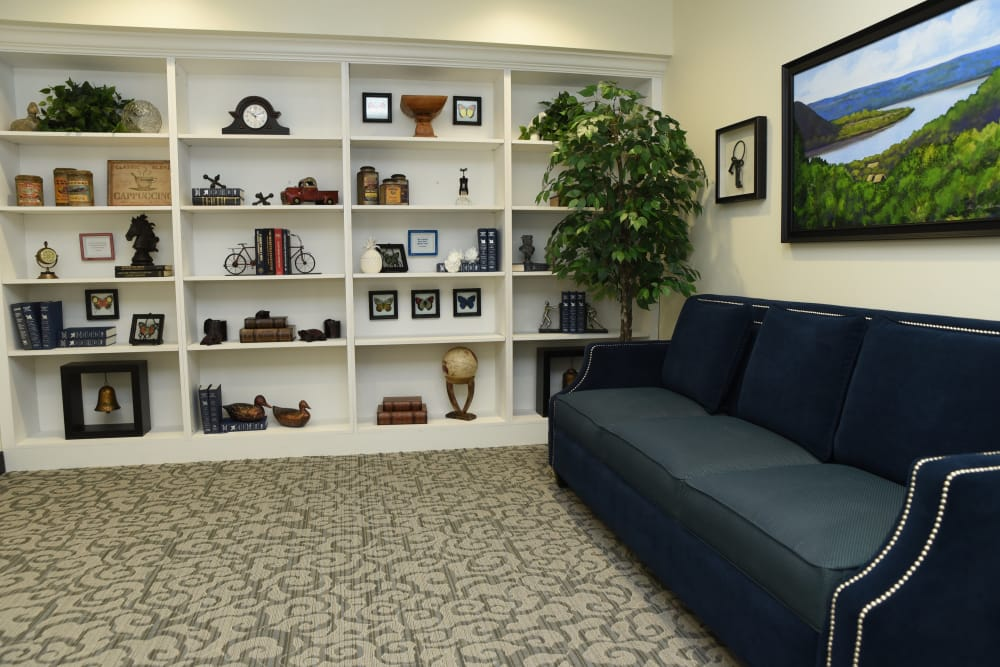 Community lounge seating at River Terrace Health Campus in Madison, Indiana