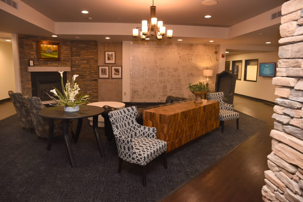 Comfortable seating in the lobby at River Terrace Health Campus in Madison, Indiana