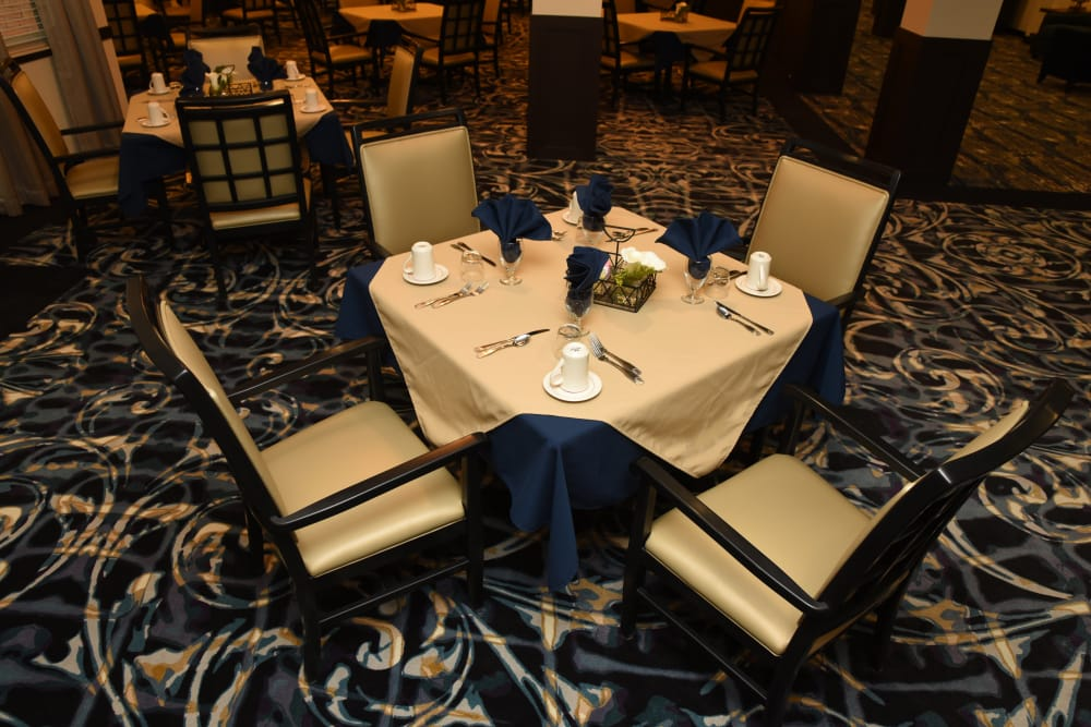 Well decorated dining room table at River Terrace Health Campus in Madison, Indiana