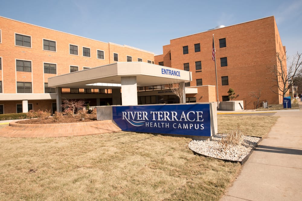 Main entrance at River Terrace Health Campus in Madison, Indiana