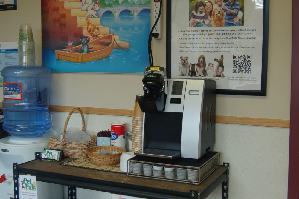 Coffee machine at Kenmore Animal Hospital in Kenmore, New York