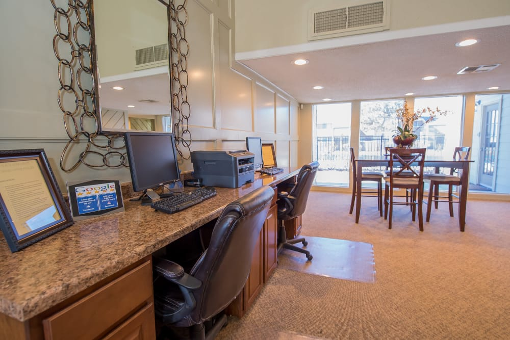 Computer area with printer access at Fox Run Apartments in Wichita, Kansas