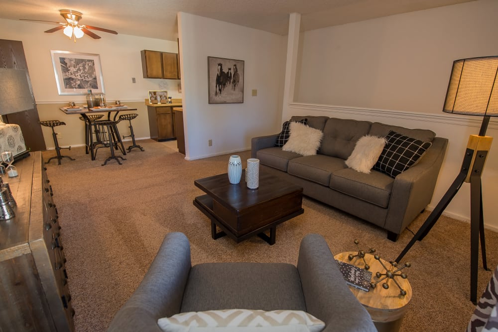 Fox Run Apartments offers a spacious living room in Wichita, Kansas