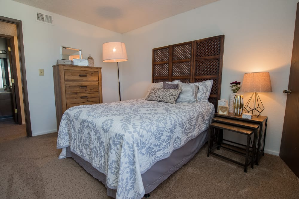 Cozy bedroom at Fox Run Apartments in Wichita, Kansas