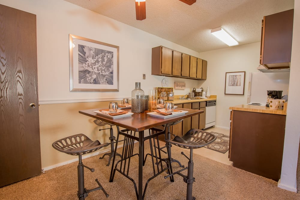 Dining room at Fox Run Apartments in Wichita, Kansas
