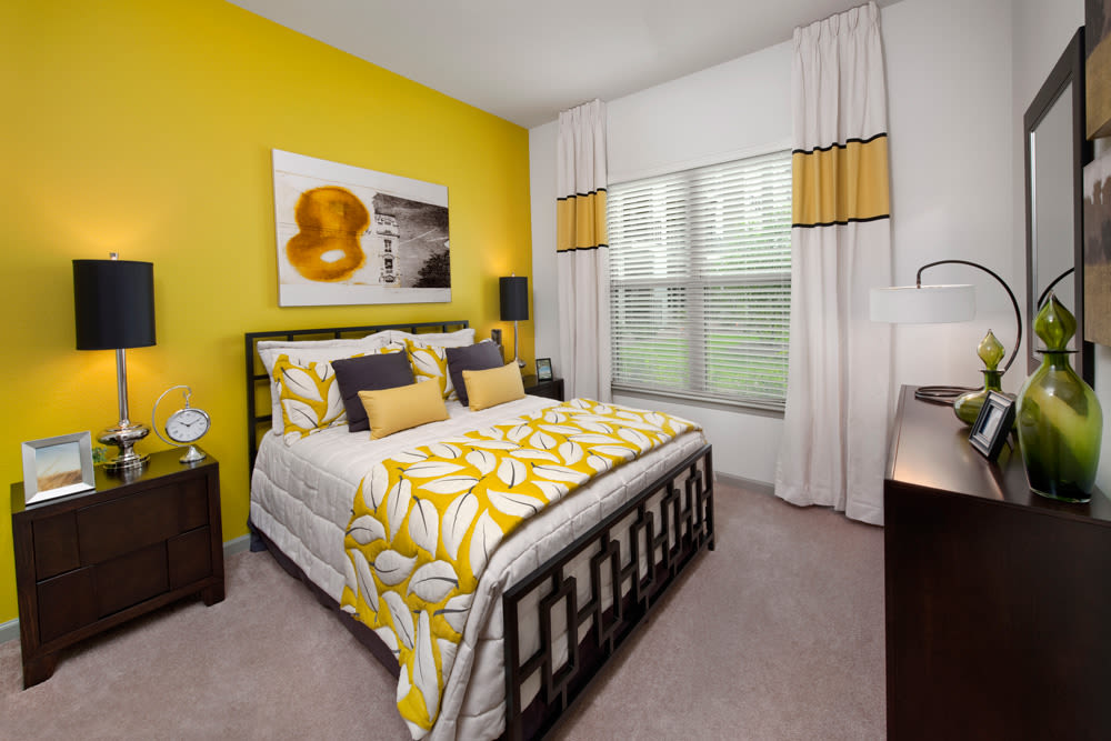 Luxury bedroom at Perimeter Lofts in Charlotte, North Carolina
