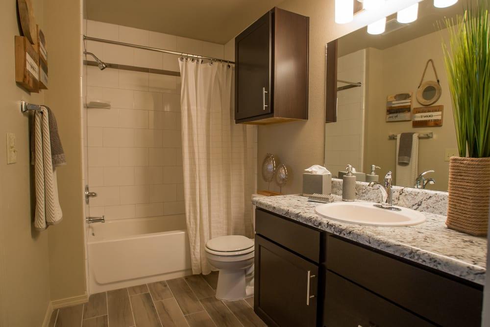 Bright, clean bathroom at Icon at Corpus Christi in Corpus Christi, Texas