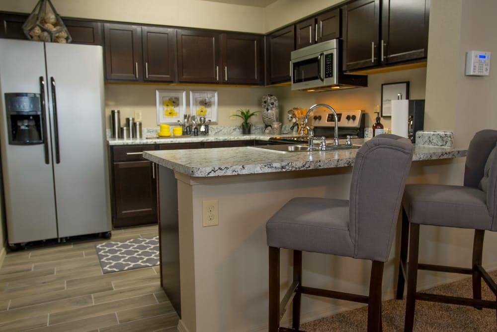 Kitchen island at Icon at Corpus Christi in Corpus Christi, Texas
