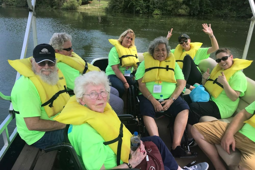 A group of residents from Wooded Glen Health Campus in Springfield, Ohio on a boat