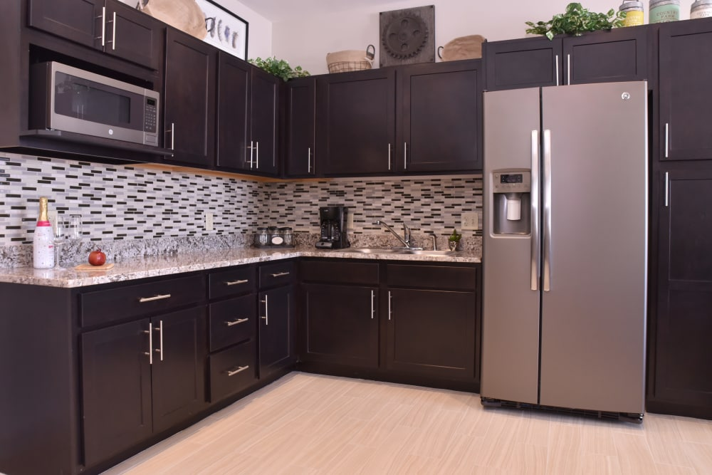 Kitchen with upgraded appliances at Wooded Glen Health Campus in Springfield, Ohio