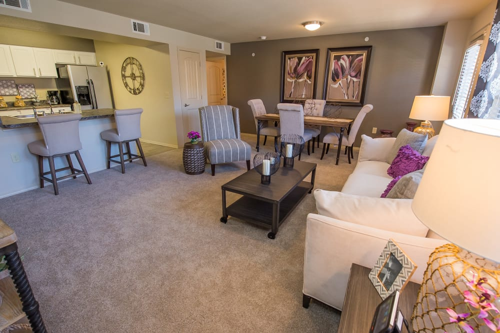 Spacious living area of Mission Point Apartments in Moore, Oklahoma