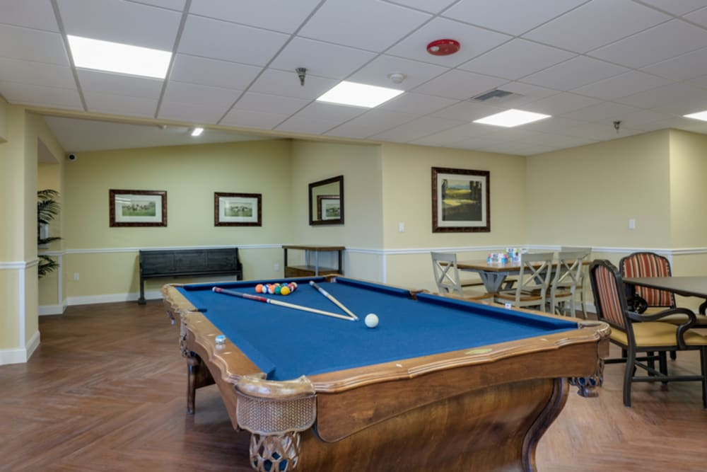 Pool table at Grand Villa of New Port Richey in Florida