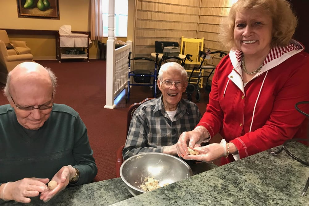 Residents baking together at Bethany Pointe Health Campus in Anderson, Indiana