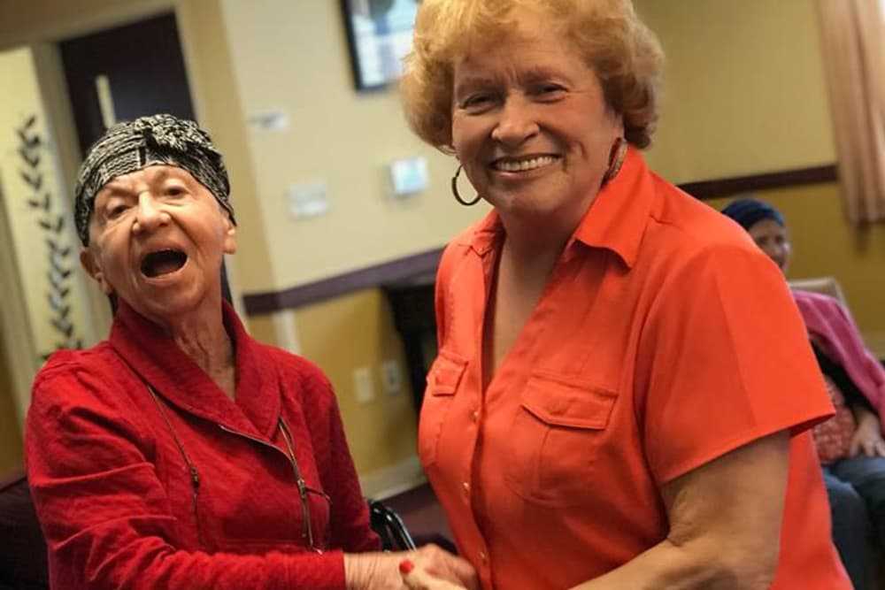 Two residents dancing at Bethany Pointe Health Campus in Anderson, Indiana