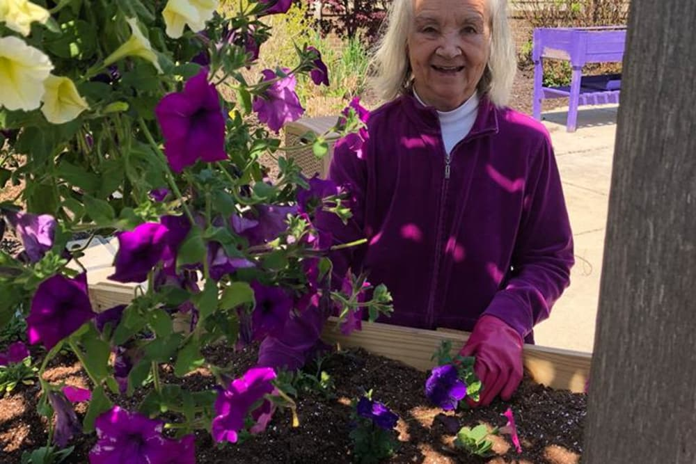 A resident at the planter box at Blair Ridge Health Campus in Peru, Indiana