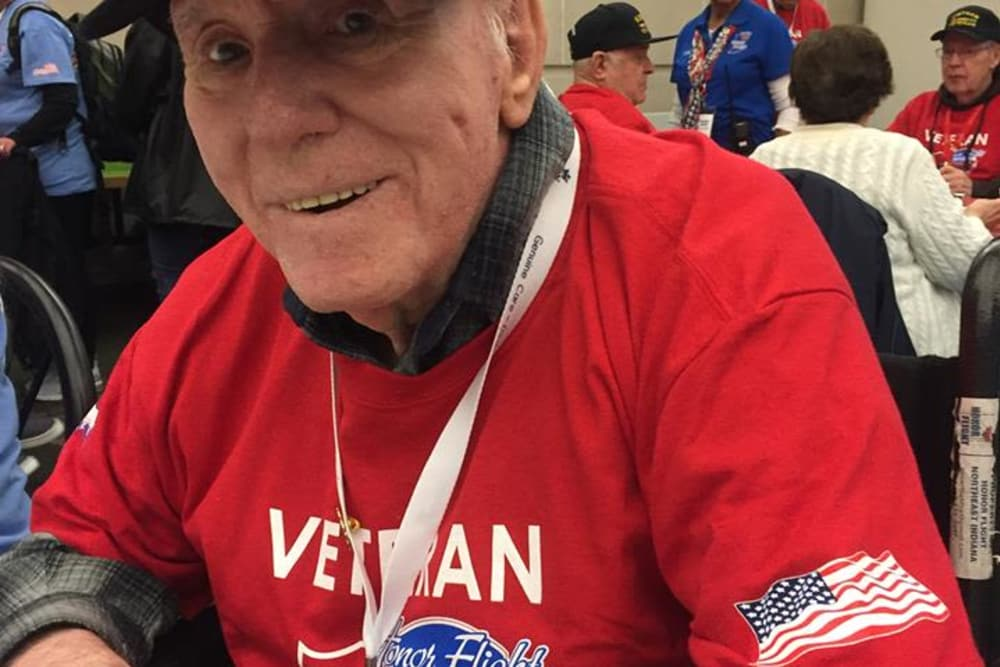 A resident sporting his veterans attire at Blair Ridge Health Campus in Peru, Indiana
