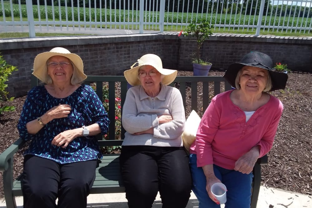 Residents enjoying the sunshine at Blair Ridge Health Campus in Peru, Indiana