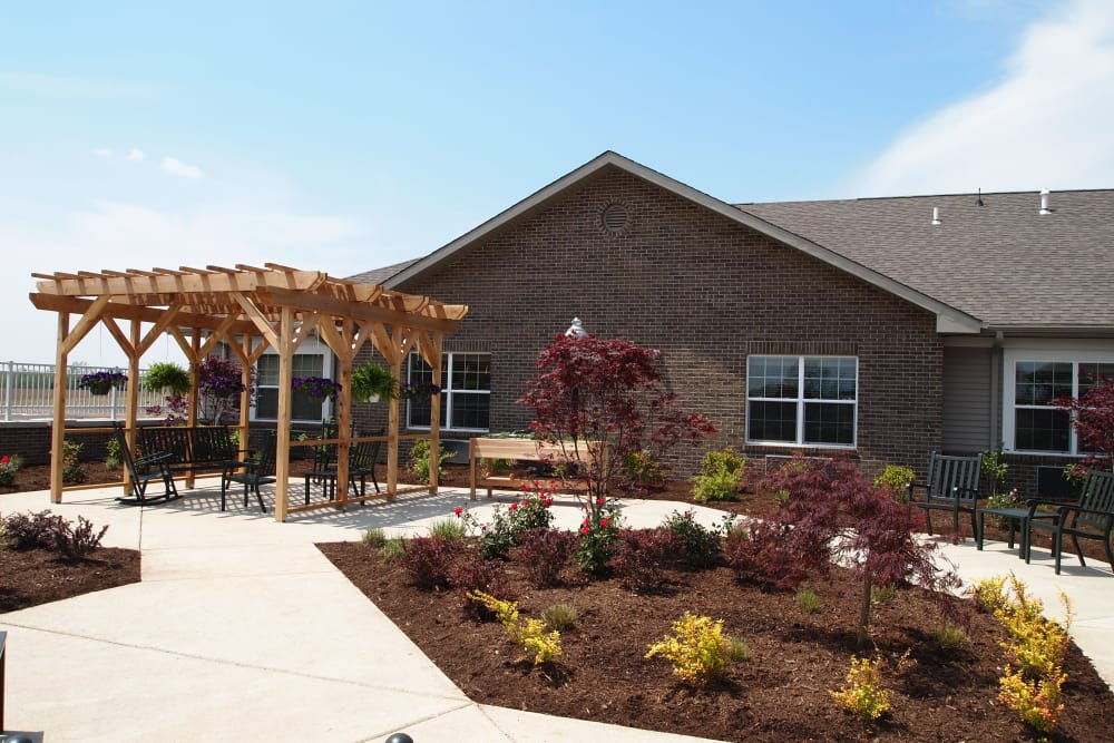 Covered patio seating at Blair Ridge Health Campus in Peru, Indiana