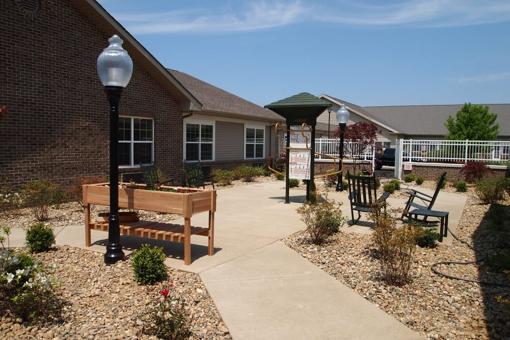 Pathway leading to the community planter box at Blair Ridge Health Campus in Peru, Indiana