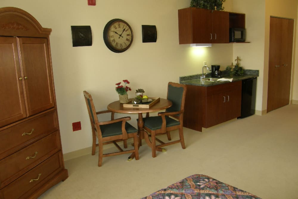 Dining room and kitchen at Cobblestone Crossings Health Campus in Terre Haute, Indiana
