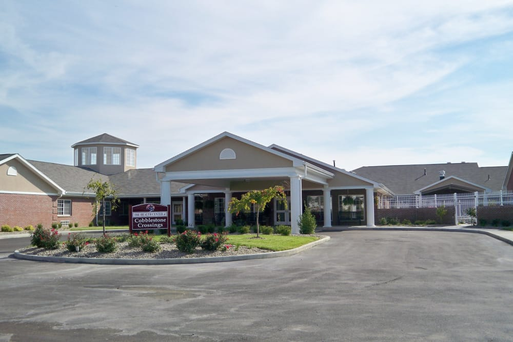 Building exterior and main entrance at Cobblestone Crossings Health Campus in Terre Haute, Indiana