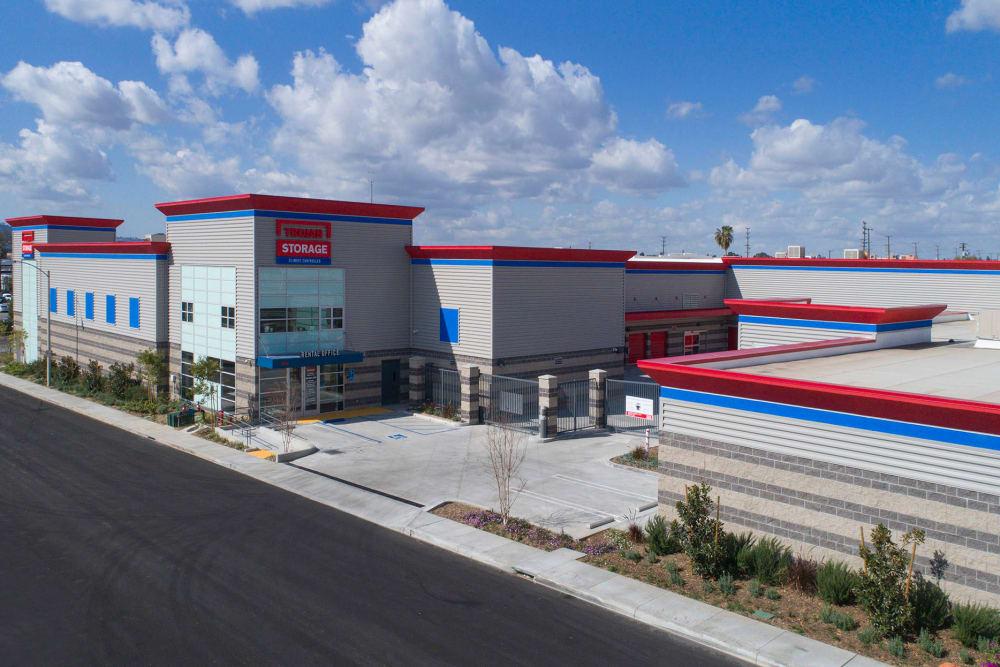 Aerial view of Trojan Storage in Burbank, California