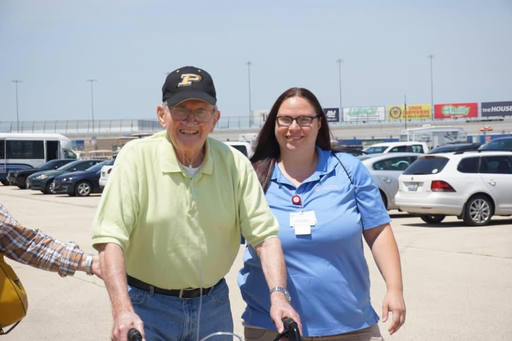 A happy resident and caregiver from Creasy Springs Health Campus in Lafayette, Indiana