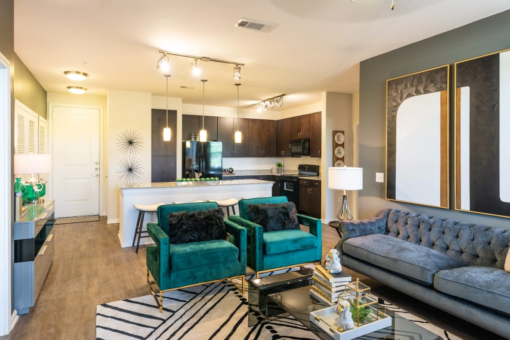 Cozy living room at Aspire at 610 in Houston, Texas