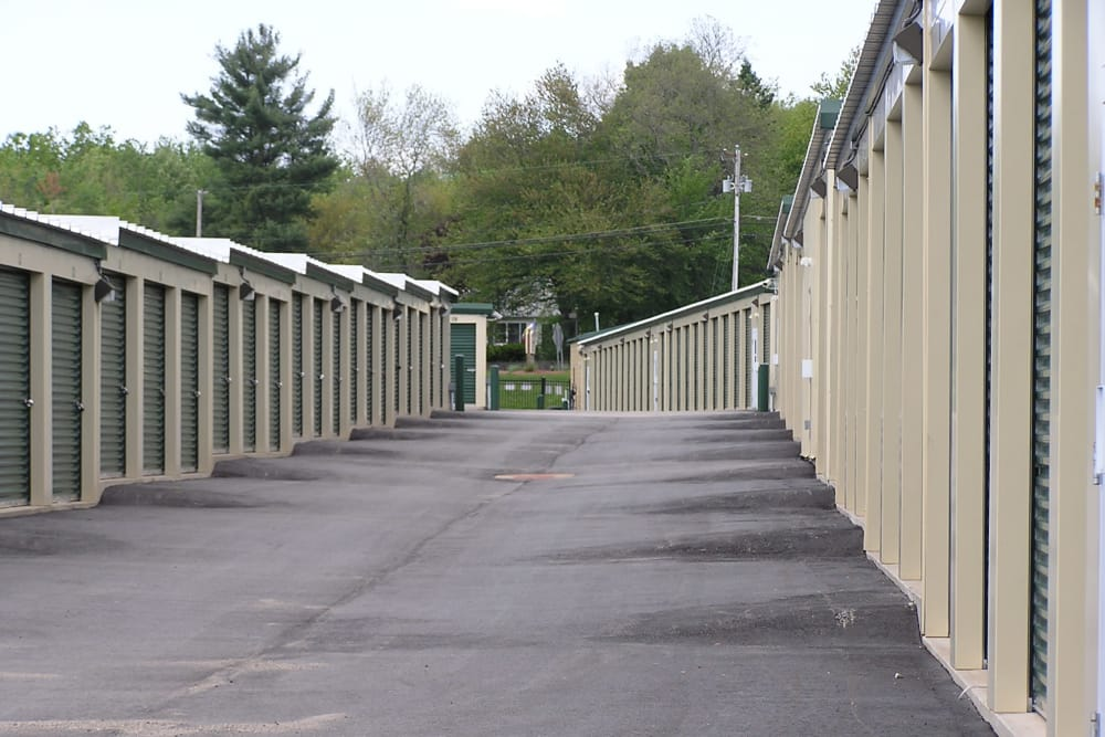 Outdoor storage units at Coventry Self Storage in Coventry, Connecticut