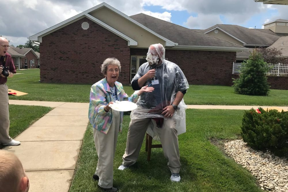 A caretaker with pie on his face at Forest Glen Health Campus in Springfield, Ohio