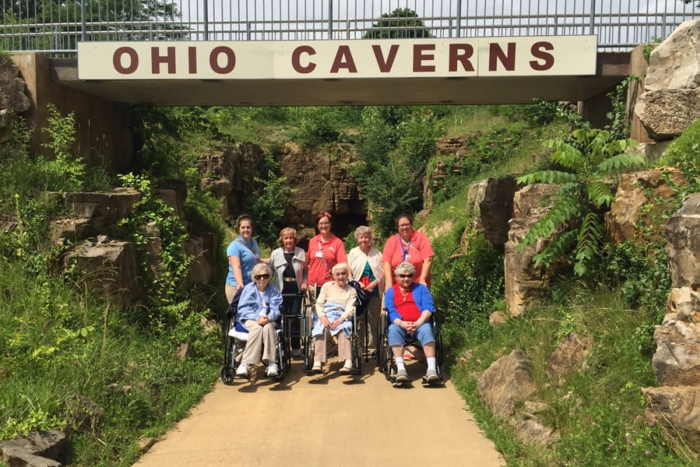 Residents from Forest Glen Health Campus in Springfield, Ohio at the Ohio Caverns.