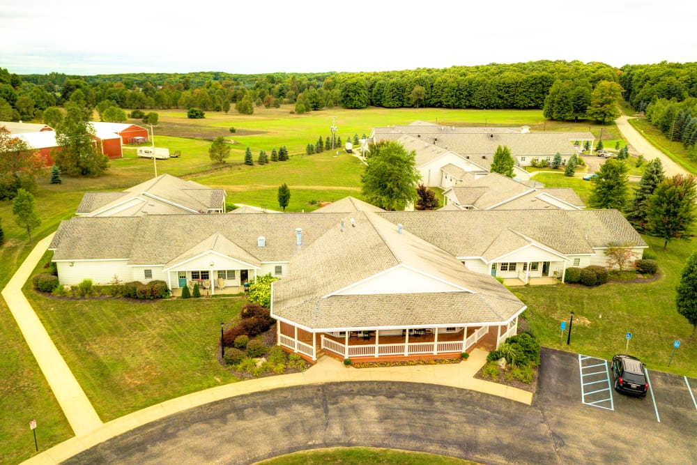 Sky view of Curry House senior living