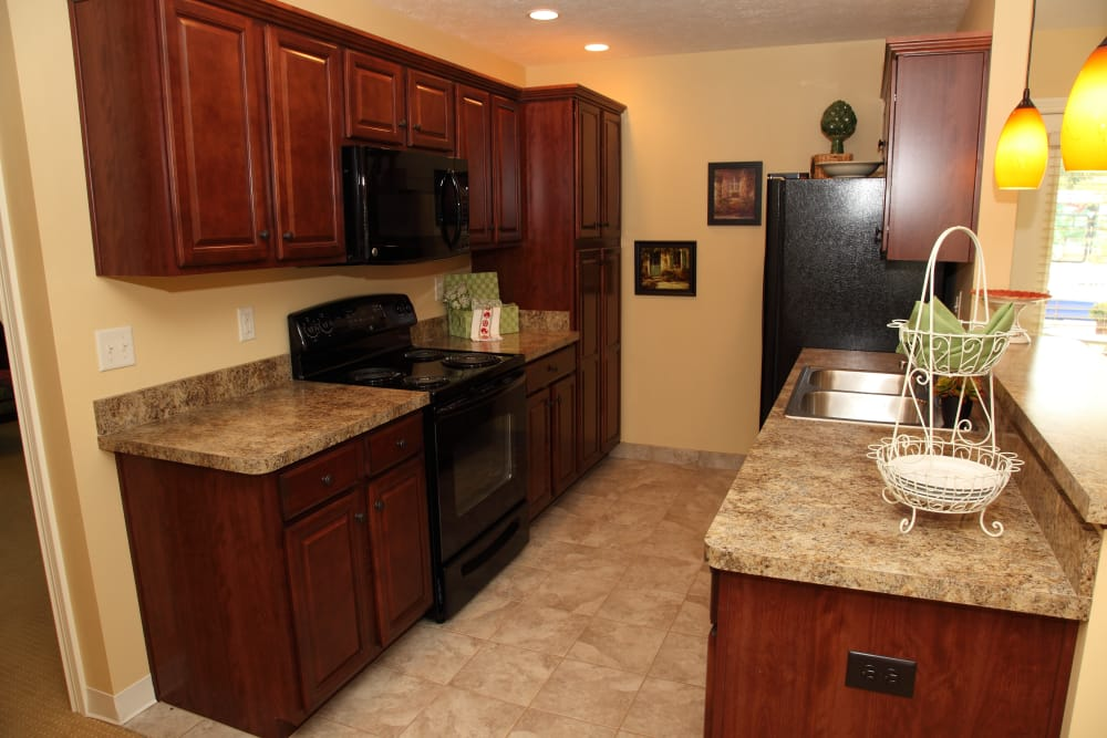 An independent living villa kitchen at Oakwood Health Campus in Tell City, Indiana