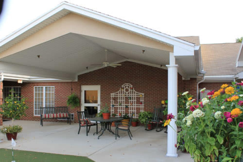 Back porch at Springhurst Health Campus in Greenfield, Indiana