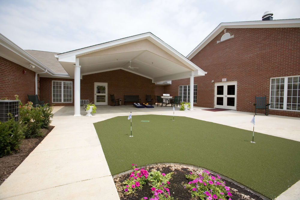 Community mini golf for residents at Springhurst Health Campus in Greenfield, Indiana