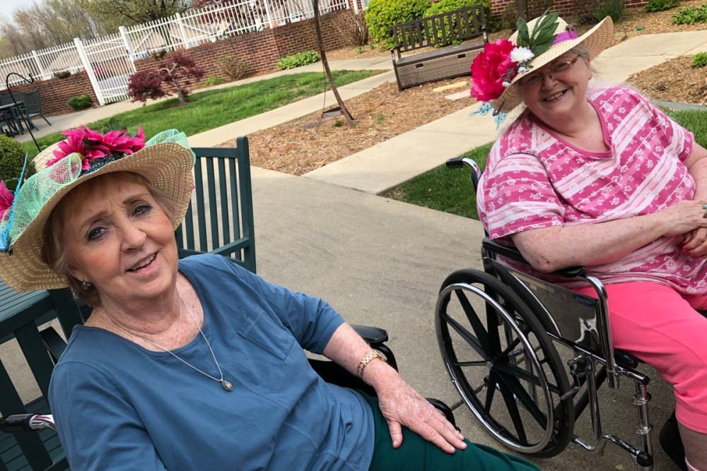 Joyful residents out on the patio at St. Charles Health Campus in Jasper, Indiana