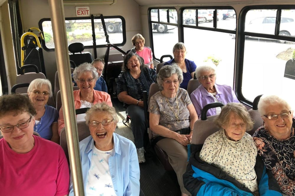 Happy residents on the community bus at The Meadows of Leipsic in Leipsic, Ohio