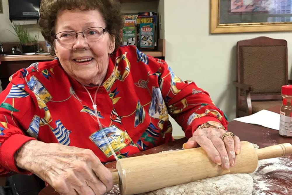 A resident baking at Waterford Place Health Campus in Kokomo, Indiana